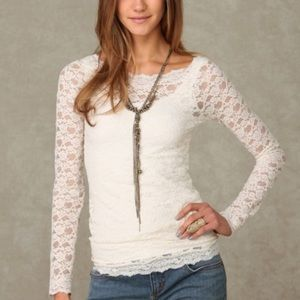 Free People Size L Scandalous Lace Top Sheer Ivory